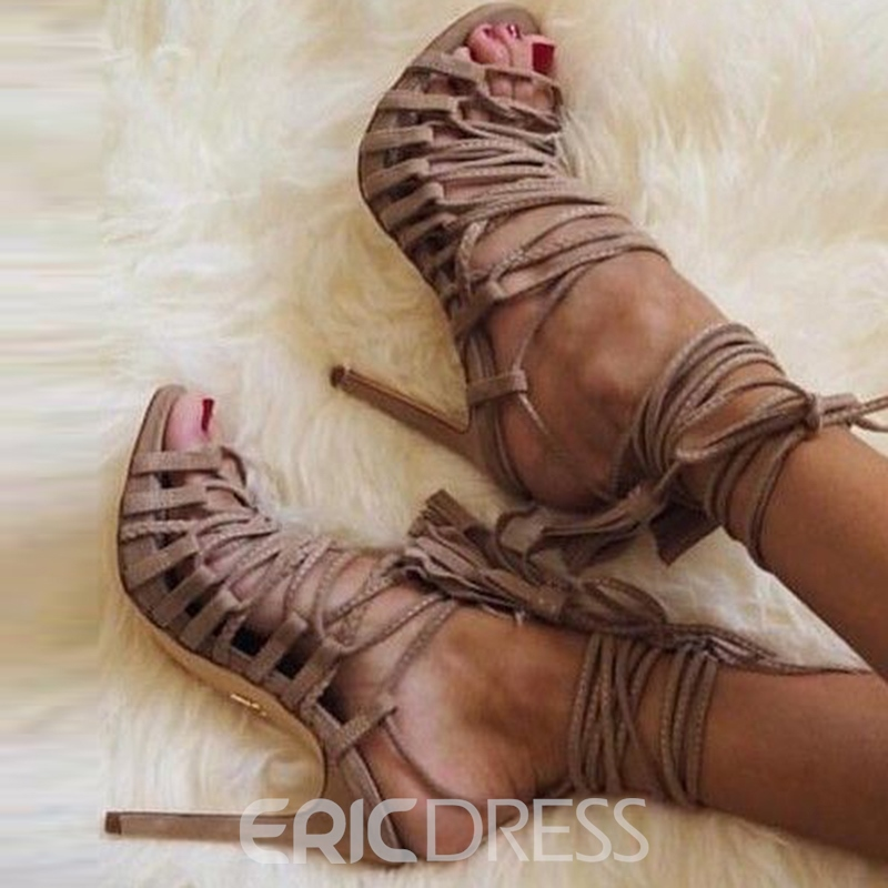 Ericdress Light Coffee Lace Up Stiletto Sandals
