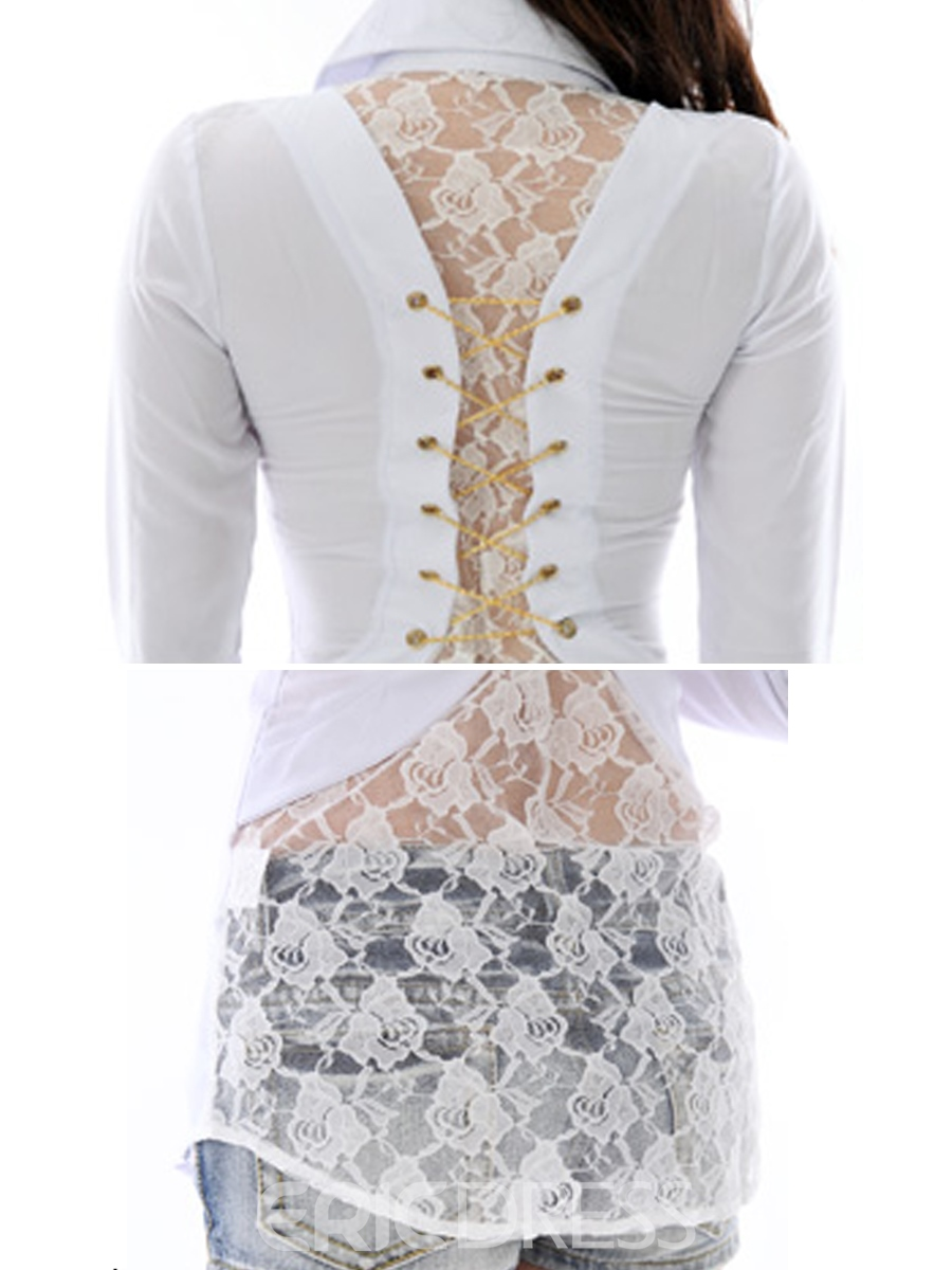 Ericdress Lace Patchwork Slim Sexy Blouse
