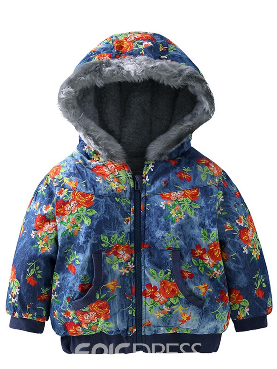 Ericdress Floral Printed Hoodie Thick Winter Baby Girls Coat