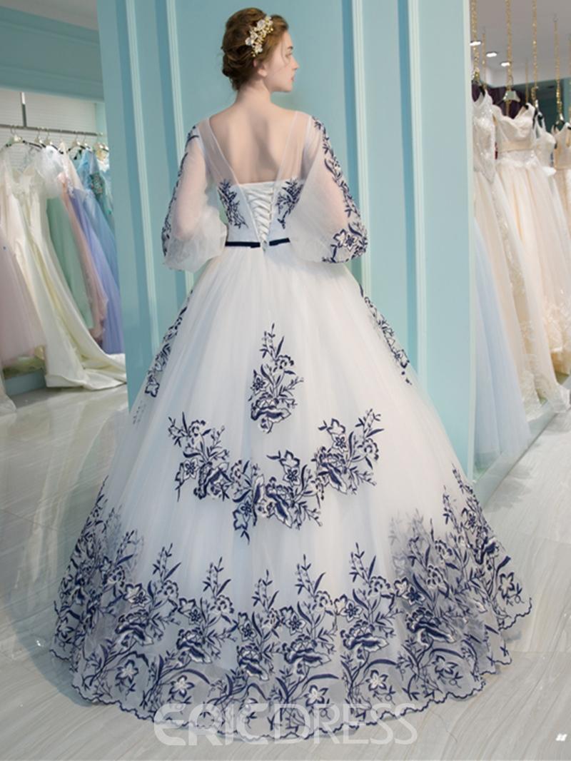 Ericdress Scoop Neck 3/4 Length Sleeves Appliques Ball Gown Quinceanera Dress