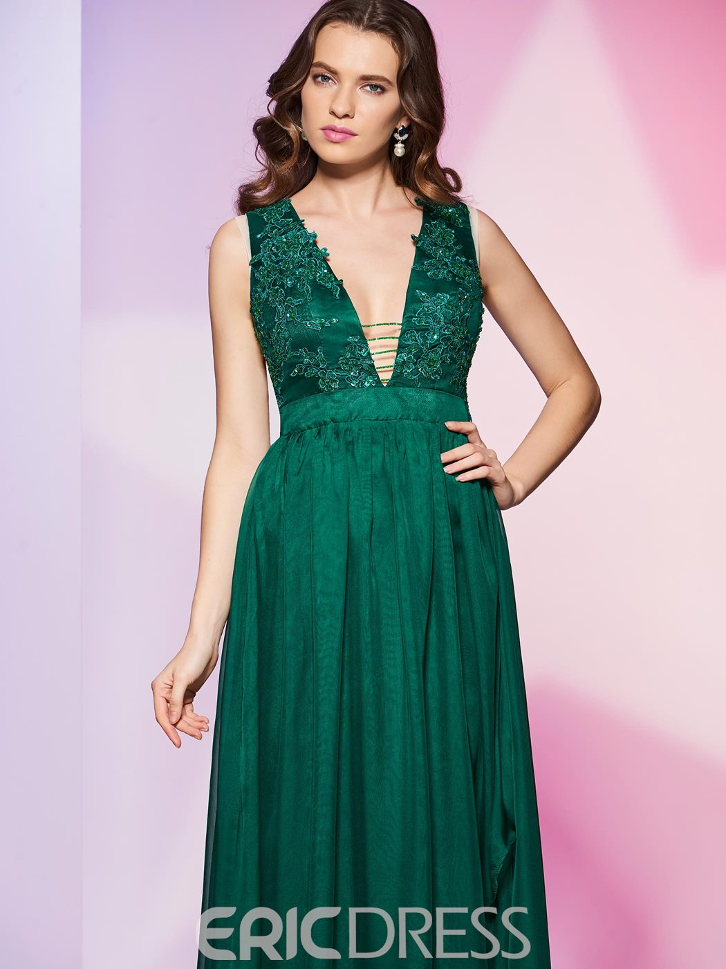 Ericdress Sexy Deep Neck Lace Applique A Line Long Prom Dress