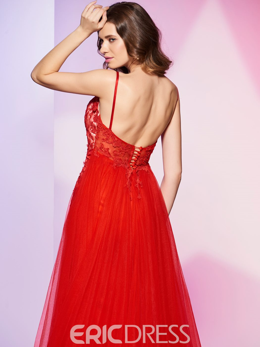 Ericdress Fancy Sheath Spaghetti Straps Lace Applique Backless Prom Dress