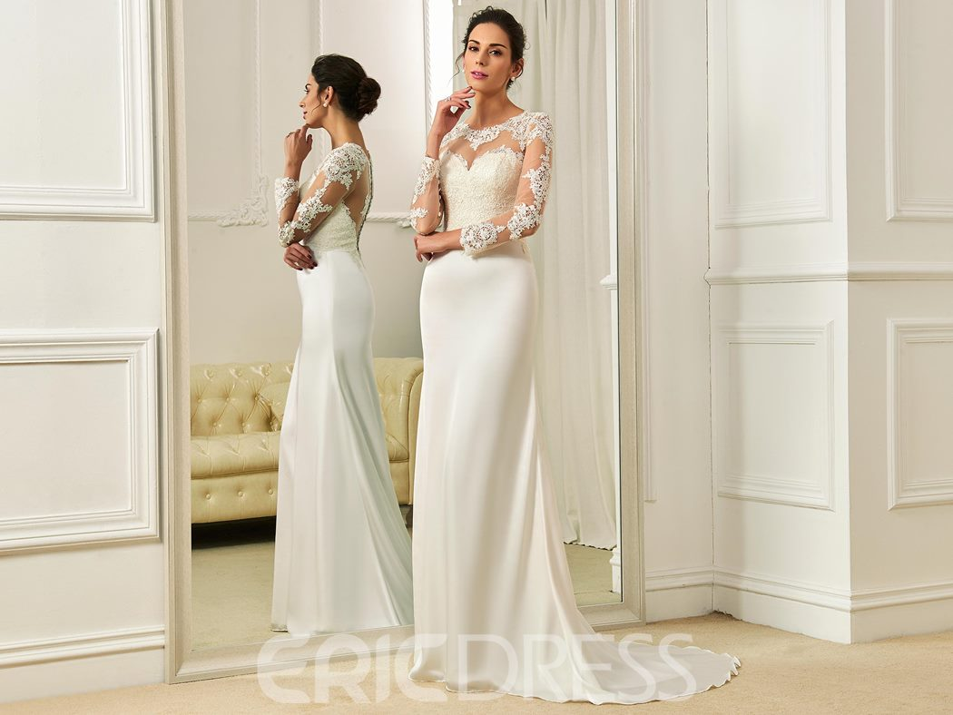 Ericdress Charming Scoop Appliques Sheath Long Sleeves Wedding Dress