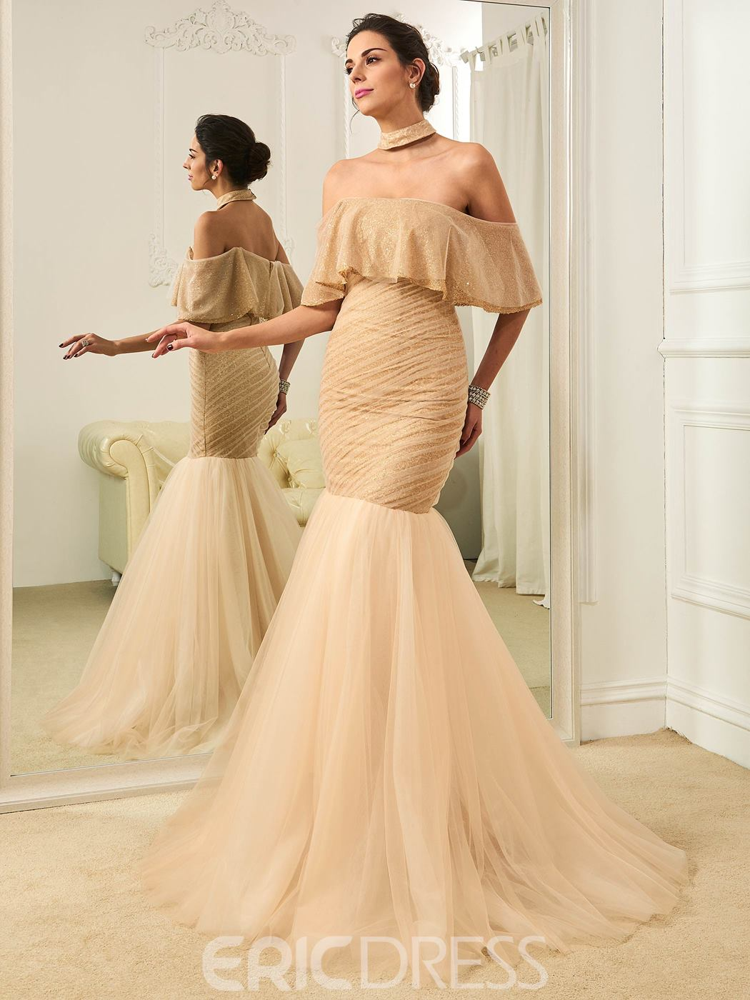 Ericdress Fancy Off The Shoulder Mermaid Color Wedding Dress