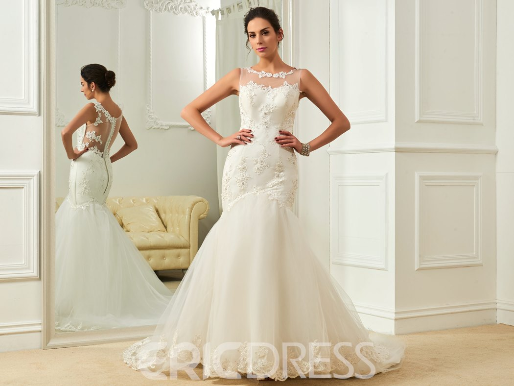 Ericdress Beautiful Scoop Appliques Backless Mermaid Wedding Dress