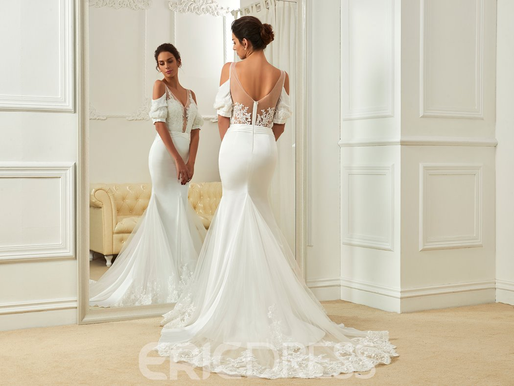 Ericdress Sexy V Neck Short Sleeves Backless Mermaid Wedding Dress