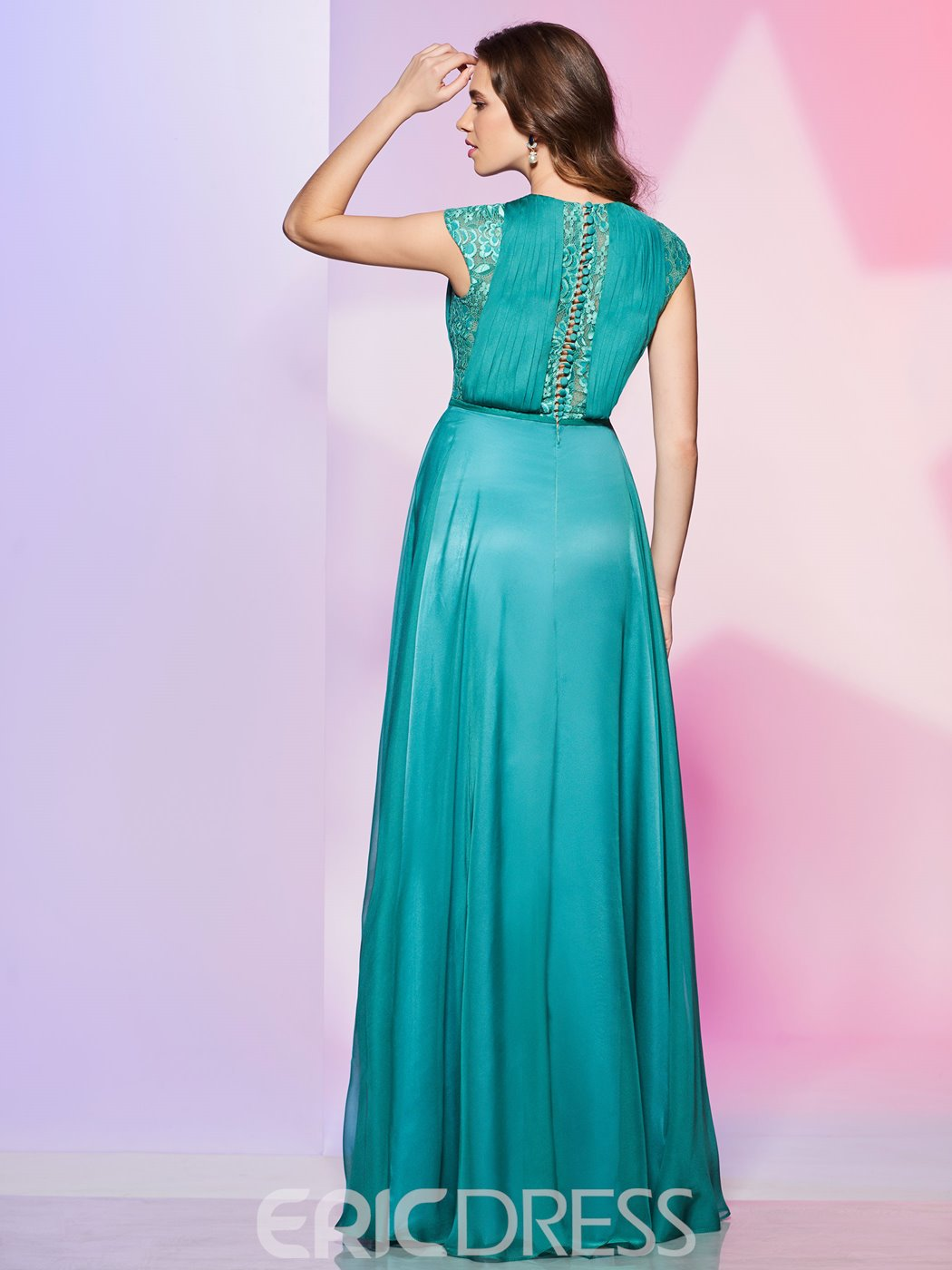 Ericdress A Line Cap Sleeve Lace Button Back Long Prom Dress