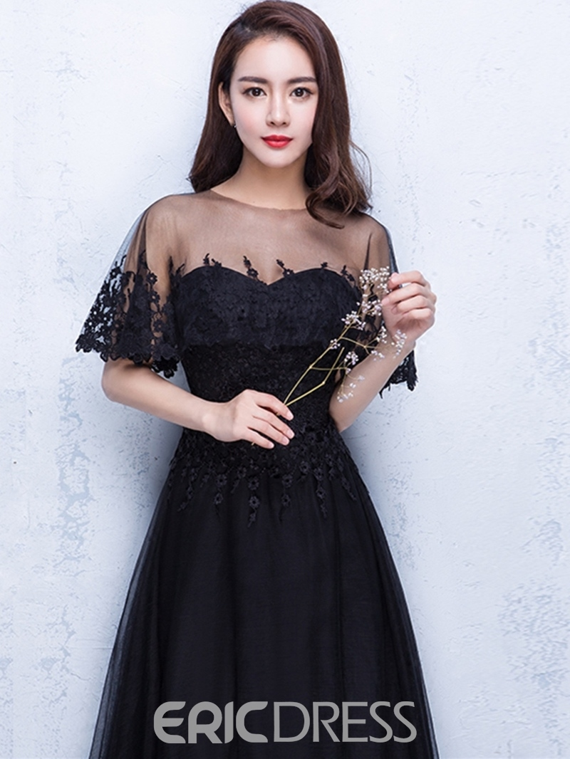 Ericdress Classic Black Short Sleeve Lace Applique Long A Line Evening Dress