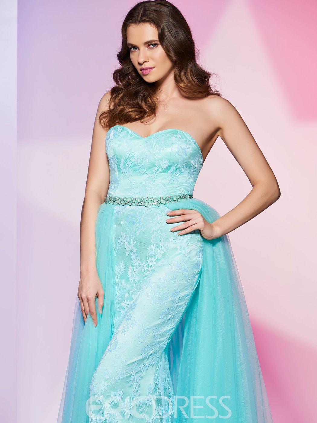 Ericdress Designer A Line Sweetheart With Detachable Train Lace Prom Dress