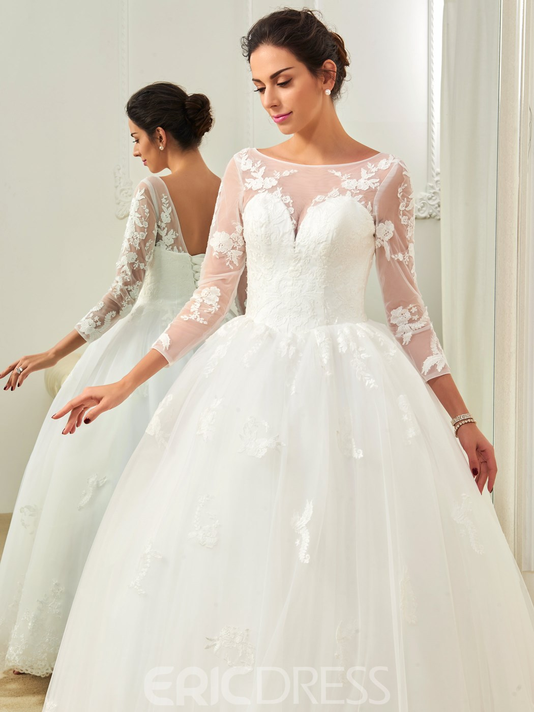 Ericdress Amazing Bateau Appliques Ball Gown Long Sleeves Wedding Dress