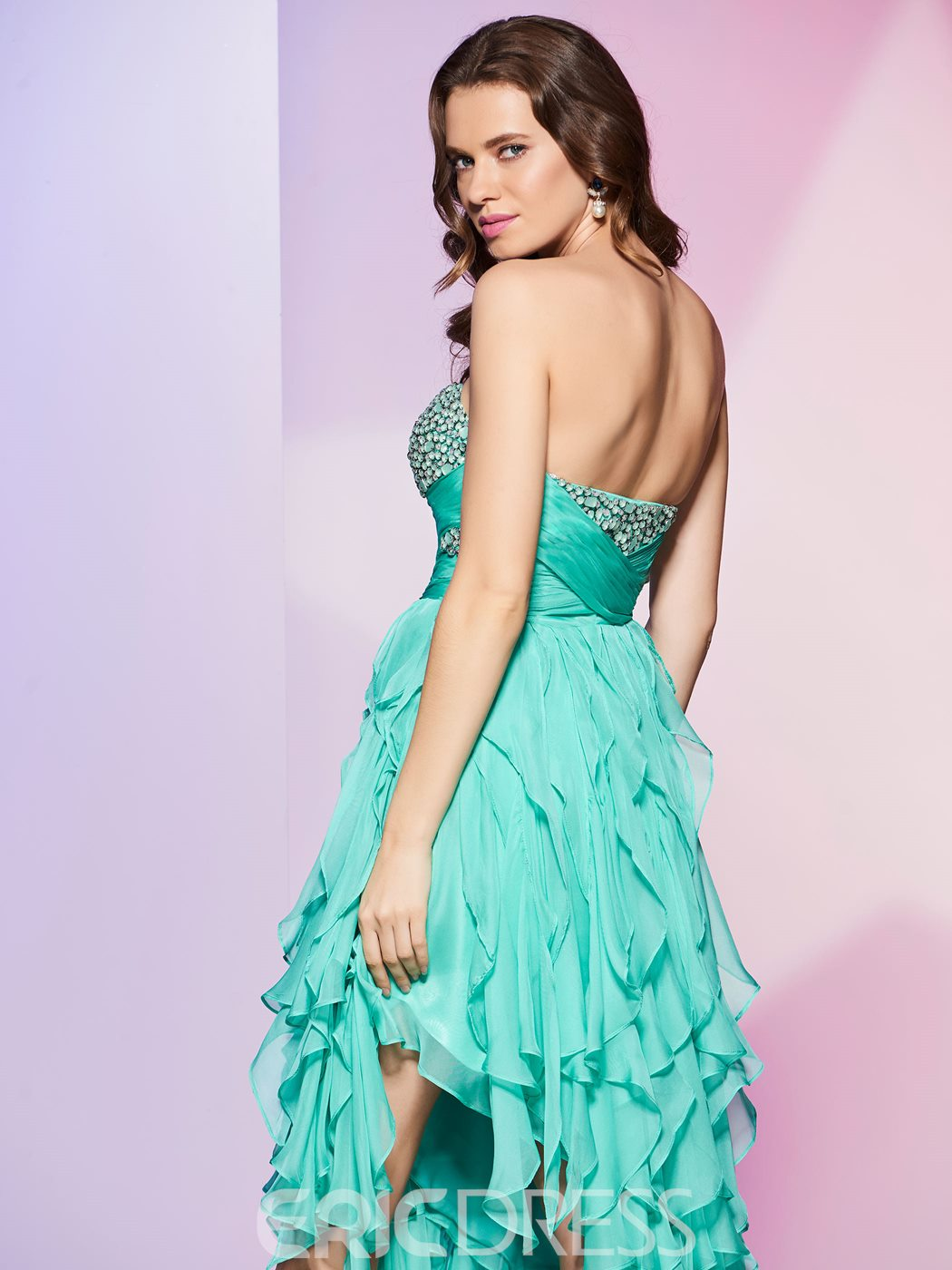 Ericdrress Beaded Sweetheart Asymmetry A Line Prom Dress