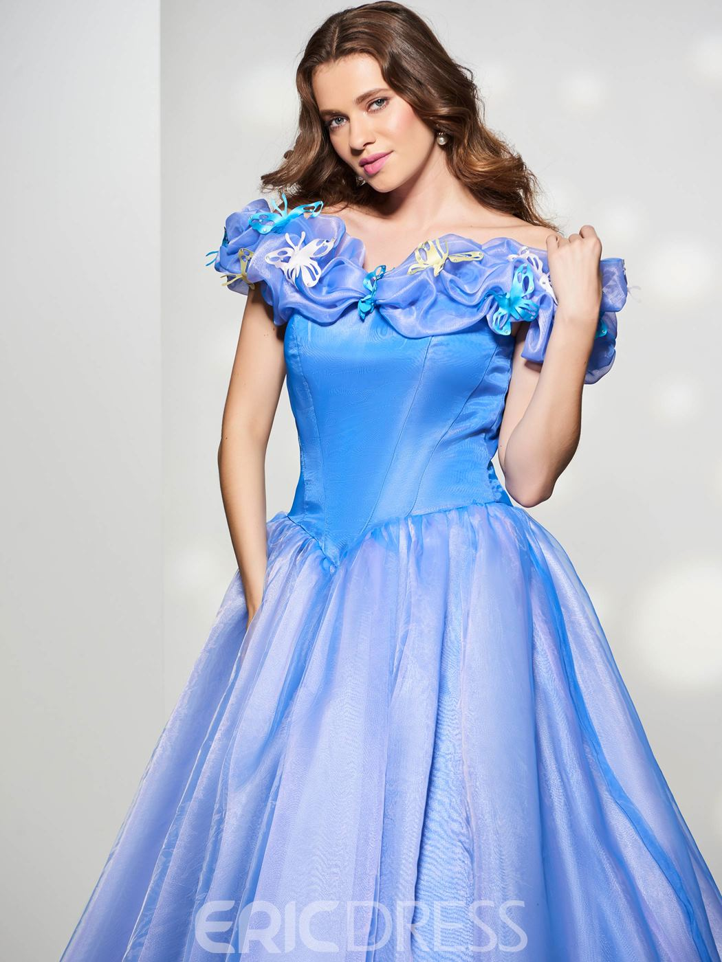Ericdress Fairy Cinderella Ball Off The Shoulder Flower Lace-Up Back Court Train Prom Gown