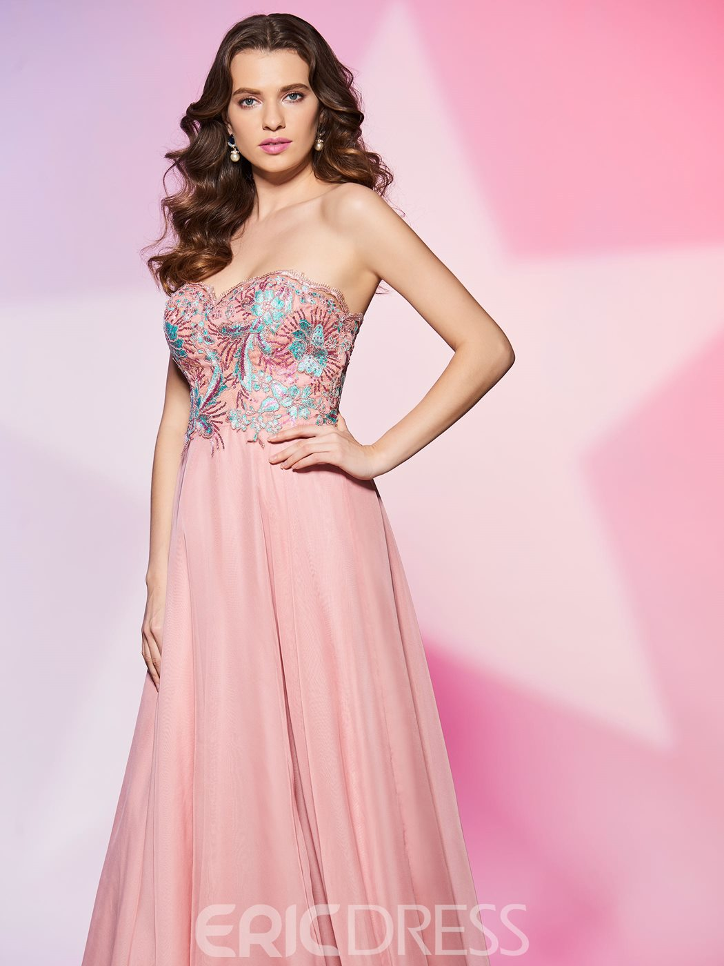 Ericdress Fresh A Line Sweetheart Embroidery Applique Zipper-Up Prom Dress