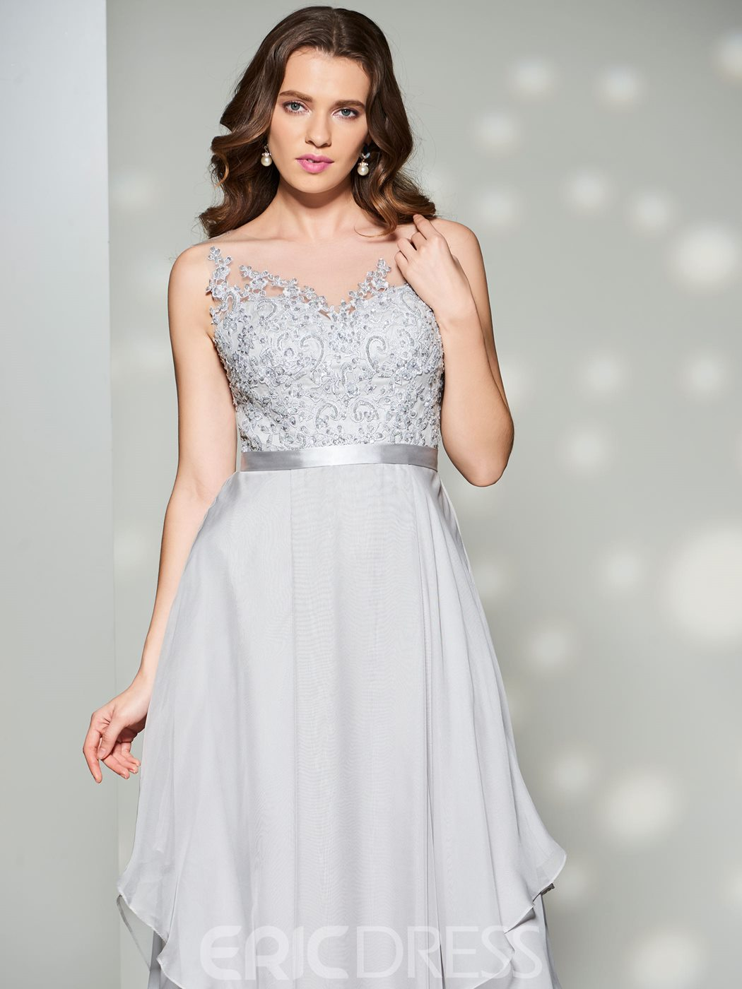 Ericdress A Line Layer Lace Applique Long Prom Dress