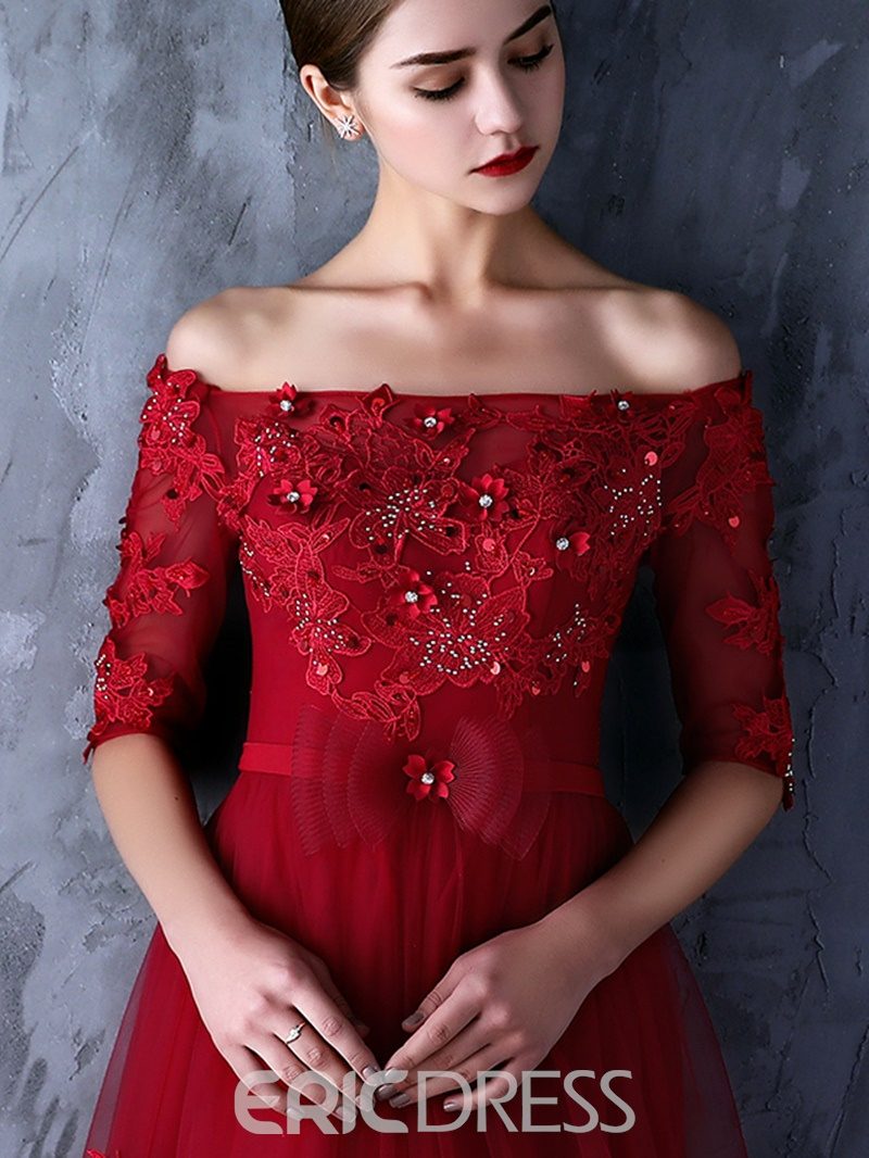 Ericdress Fancy A-Line Off-the-Shoulder Half Sleeves Appliques Beading Evening Dress