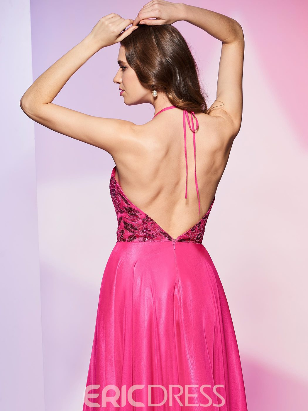 Ericdress Halter A Line Sequin Applique Backless Floor Length Prom Dress