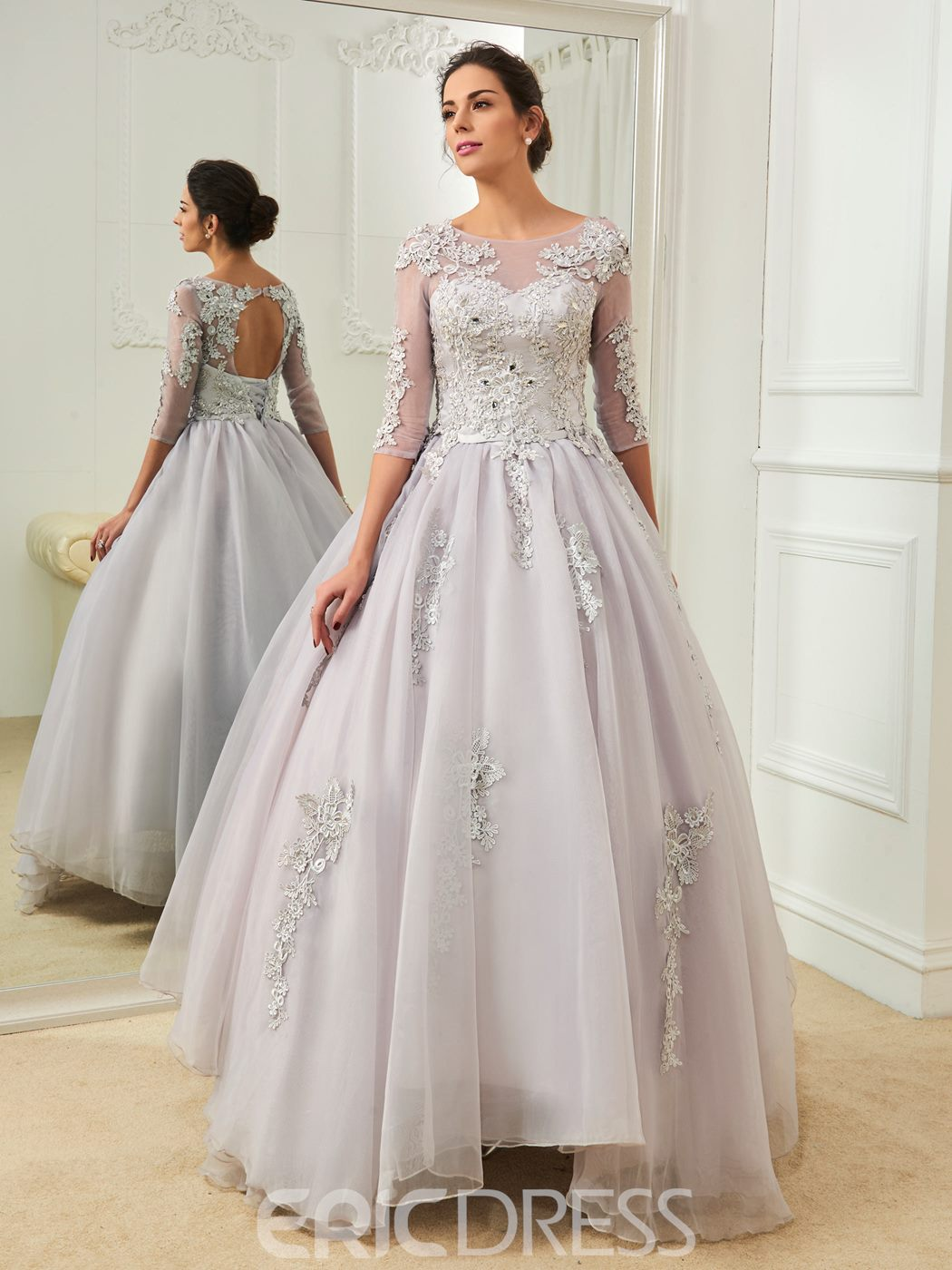 Ericdress Beautiful Bateau Appliques Half Sleeves Color Wedding Dress