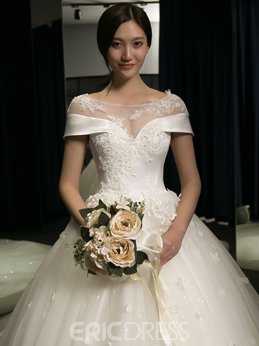 Ericdress Charming Scoop Appliques Ball Gown Wedding Dress