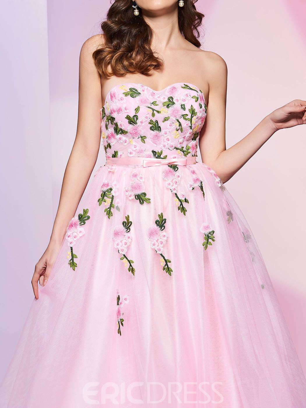 Ericdress Delicate A Line Sweetheart Embroidery AppliqueeSleeveless Prom Dress