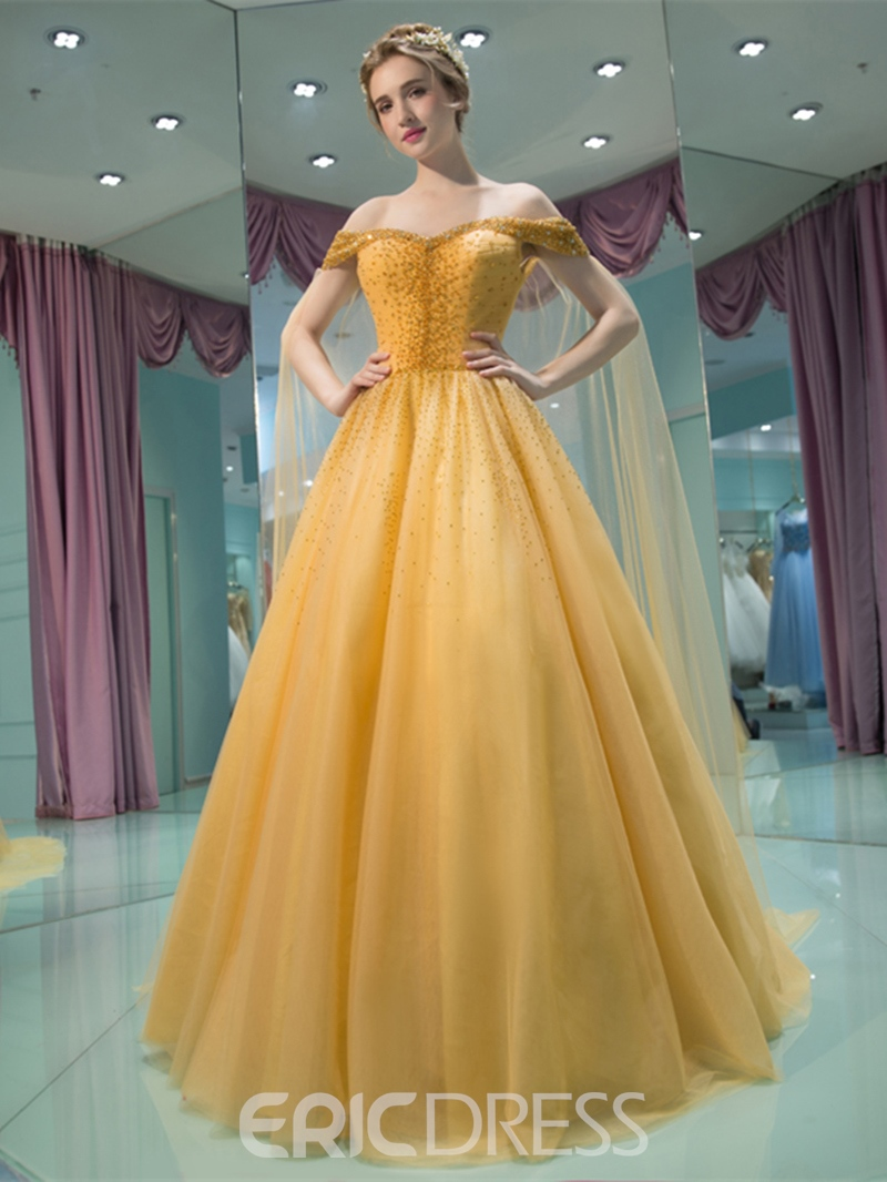 Ericdress A-Line Off-the-Shoulder Beading Pleats Court Train Prom Dress