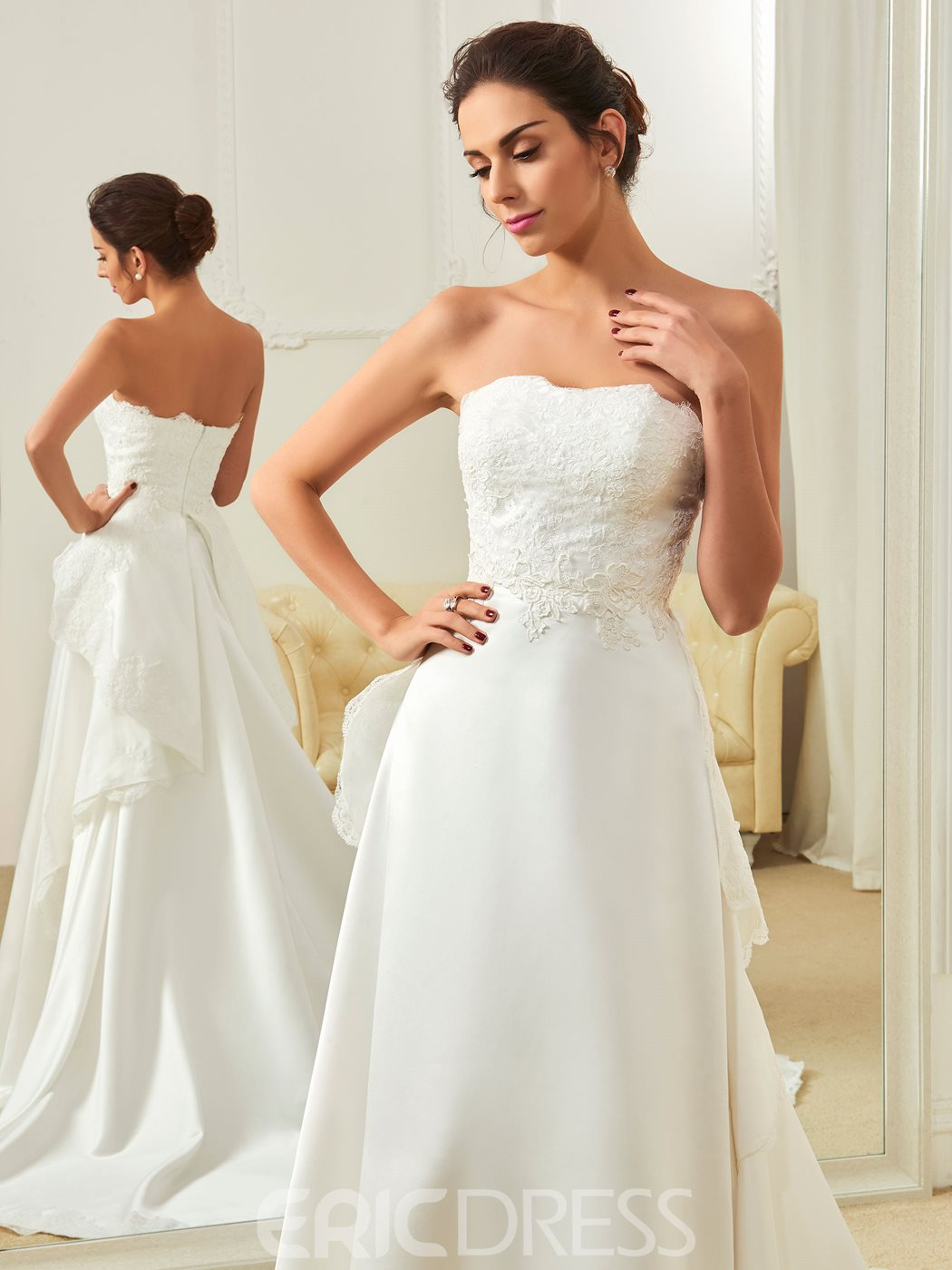 Ericdress High Quality Appliques Sweetheart Court Train A Line Wedding Dress