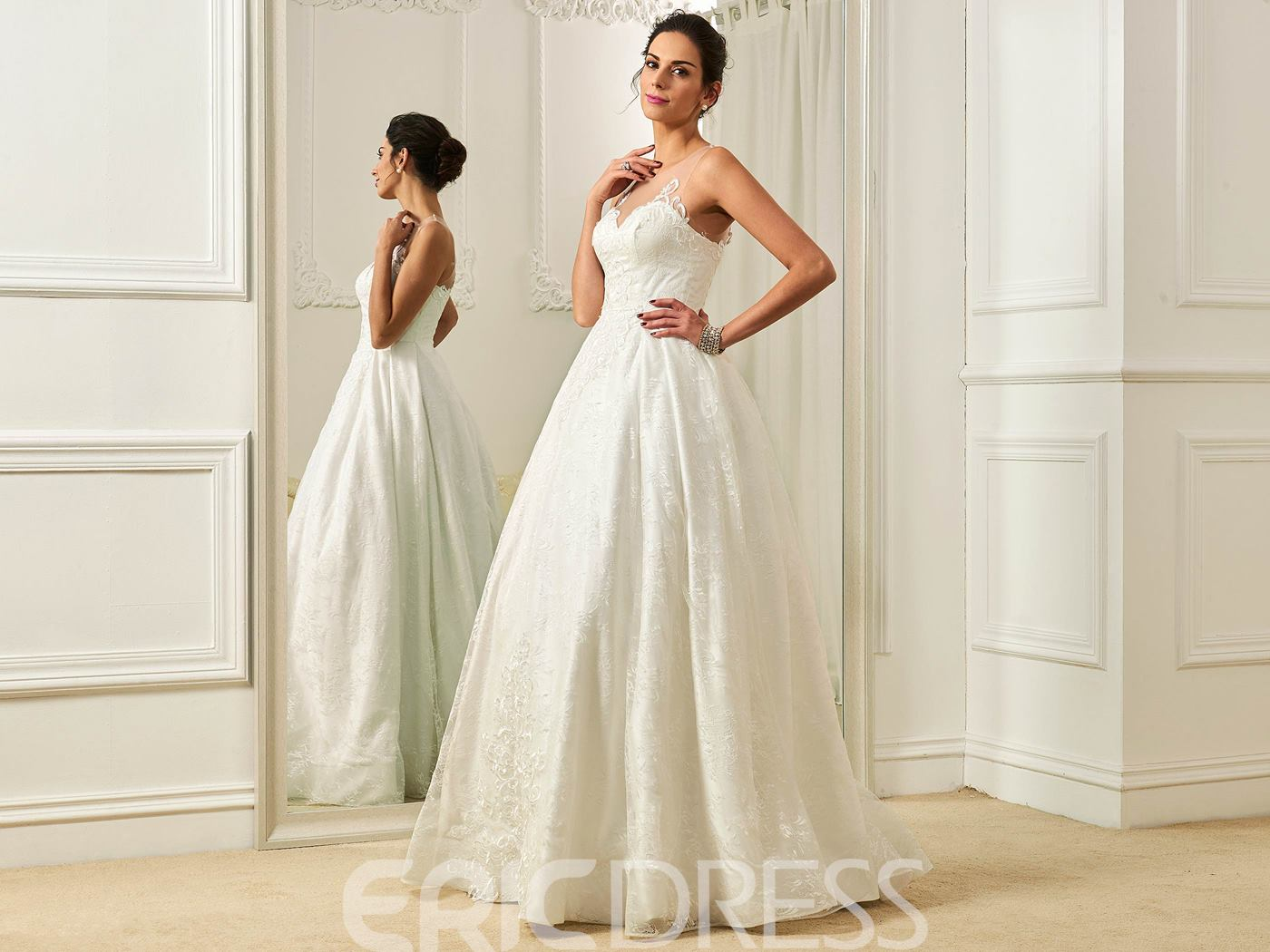 Ericdress Illusion Neckline A Line Lace Wedding Dress