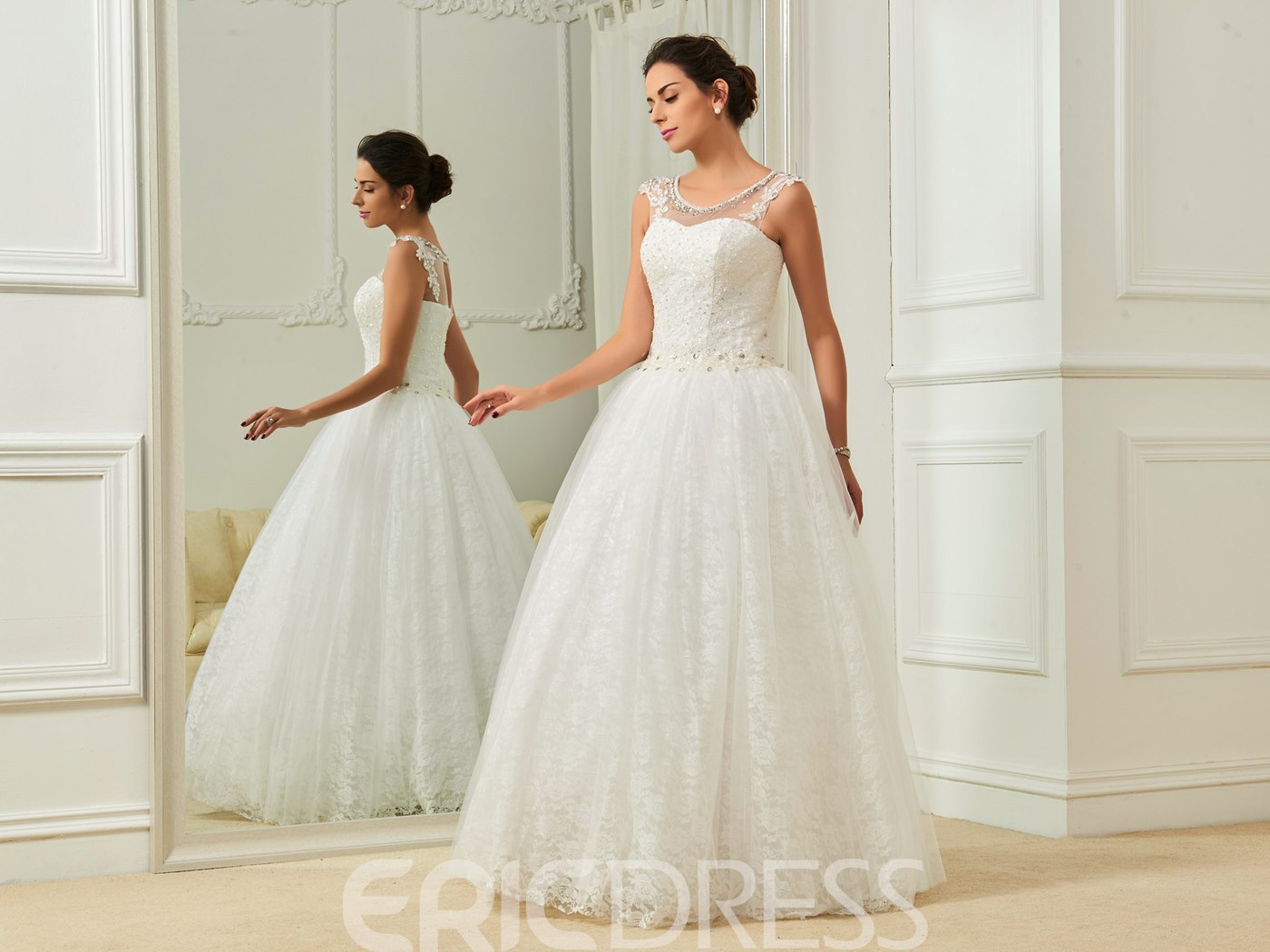 Ericdress Charming Scoop Beaded A Line Lace Wedding Dress