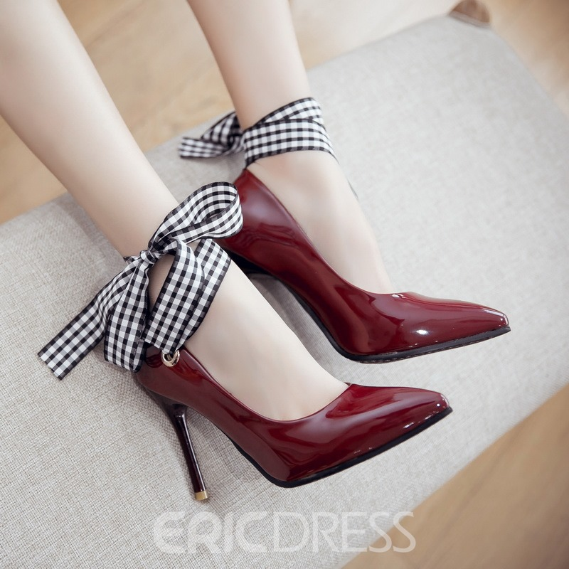 Ericdress Patent Leather Point Toe Lace up Pumps