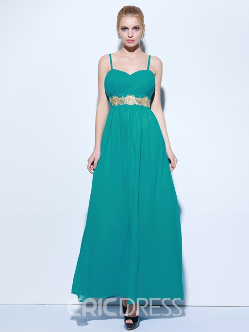 Ericdress Spaghetti Straps A-Line Appliques Ankle-Length Evening Dress