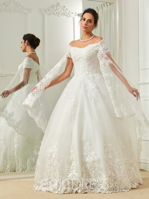 Ericdress Elegant Appliques Off The Shoulder Short Sleeves Ball Gown Wedding Dress