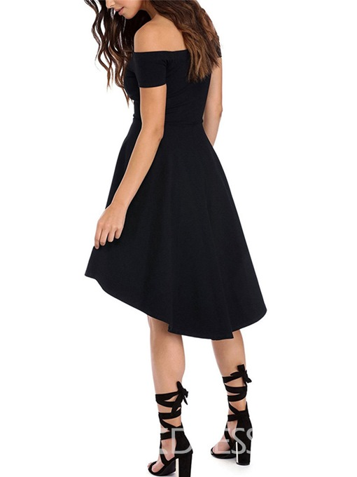 Ericdress Slash Neck Pleated Patchwork Short Sleeve Asymmetrical Little Black Dress