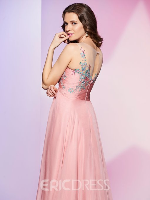 Ericdress Fancy Empire Scoop Neck A Line Long Prom Dress