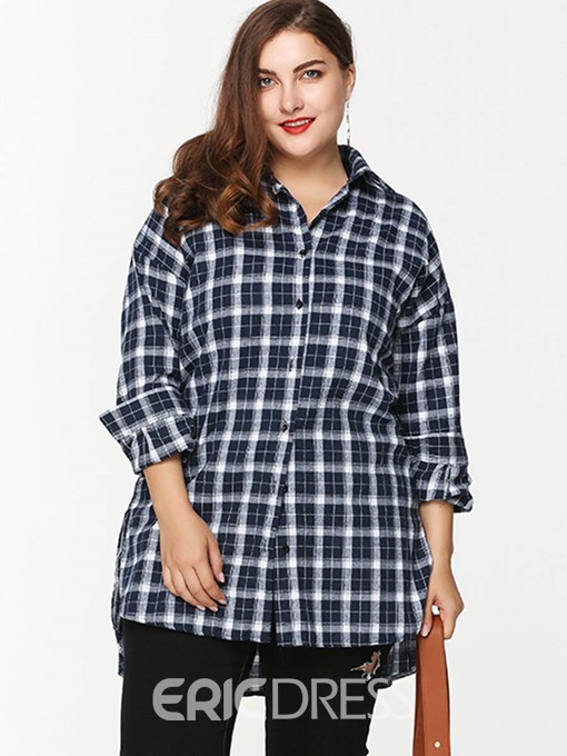 Ericdress Lapel Plaid Regular Plus Size Blouse