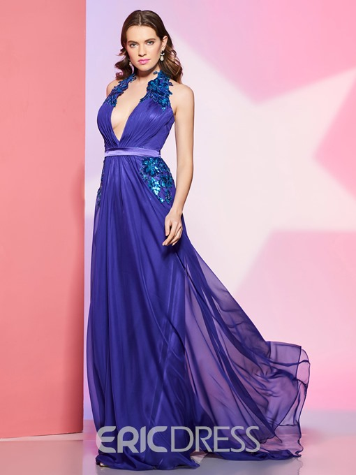 Ericdress Sexy Deep Neck Halter Lace Applique Backless A Line Prom Dress