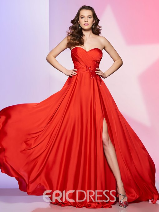 Ericdress Hot Red A Line Sweetheart Side Slit Prom Dress