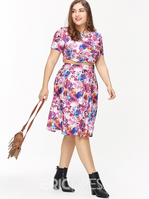 Ericdress Plus Size Floral Print T-Shirt And Skirt Two Piece Sets