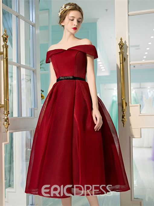 Ericdress Vintage Off The Shoulder Zipper-Up A Line Prom Dress