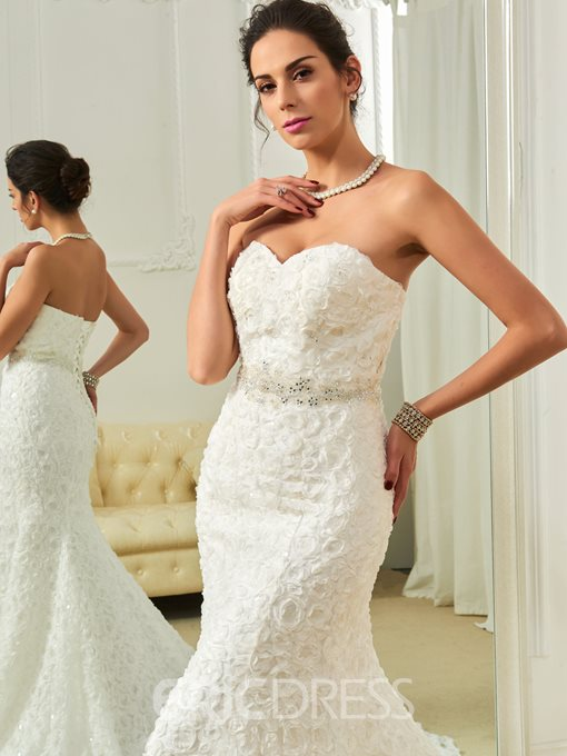 Ericdress High Quality Sweetheart Beaded Mermaid Lace Wedding Dress