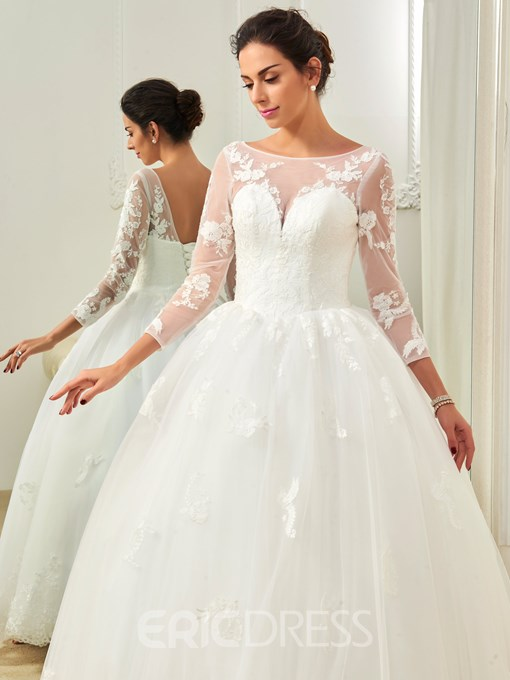 Ericdress Appliques Ball Gown Long Sleeves Wedding Dress