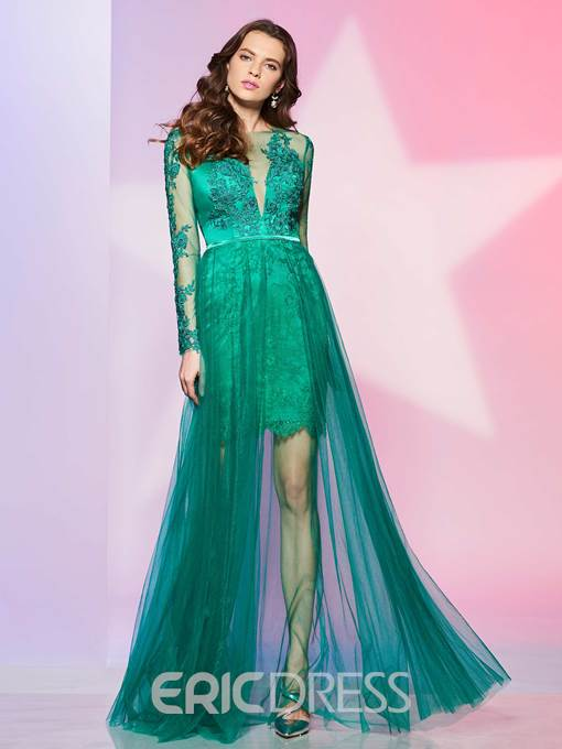 Ericdress A Line Long Sleeve Short Lace Prom Dress With Tulle Skirt