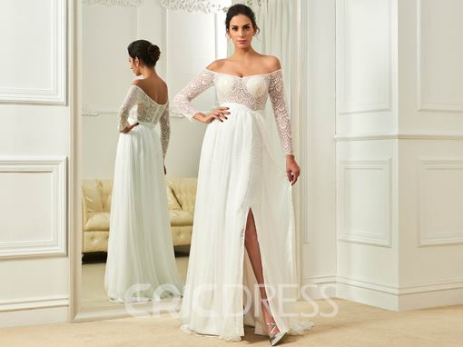 Ericdress Sexy Off The Shoulder A Line Long Sleeves Lace Beach Wedding Dress