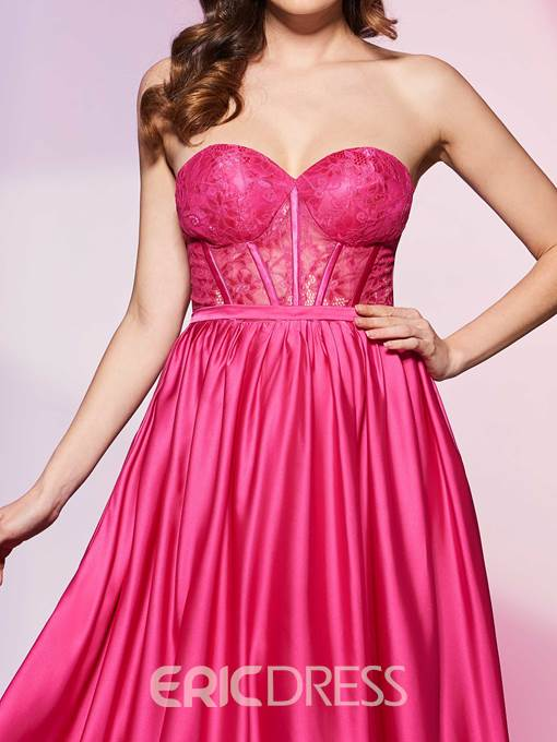 Delicate A Line Sweetheart Zipper-Up Floor Length Prom Dress