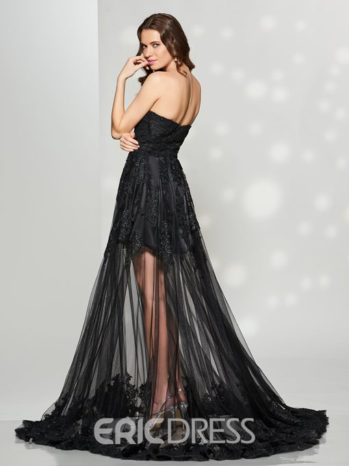 Ericdress Chic A Line Sweetheart Lace Applique Tulle Prom Dress