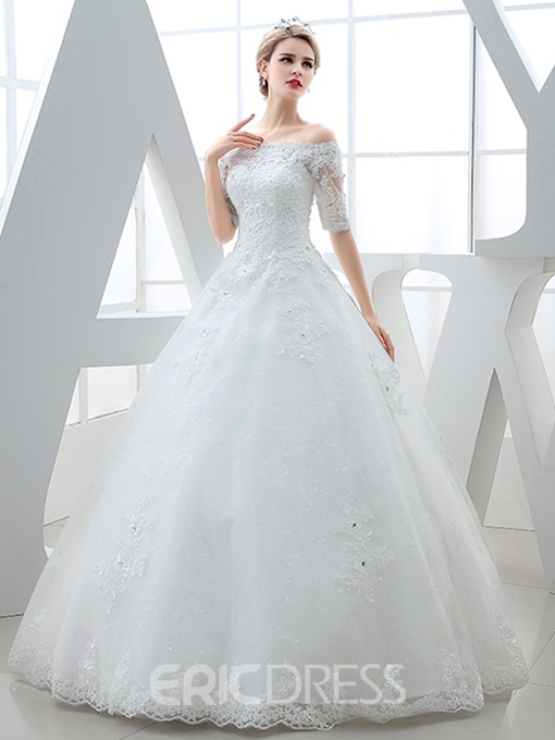 Ericdress Off The Shoulder Appliques Half Sleeves Ball Gown Wedding Dress