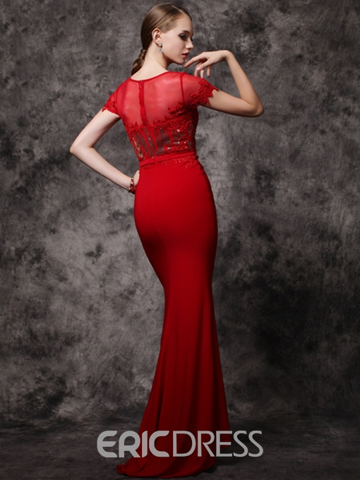 Ericdress Cap Sleeves Scoop Neck Appliques Beading Sequins Mermaid Evening Dress