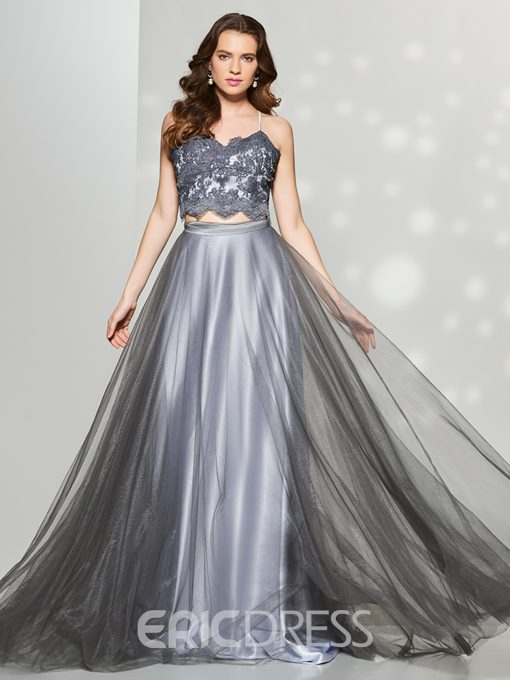 Ericdress Two Pieces A Line Spaghetti Straps Lace Applique Prom Dress