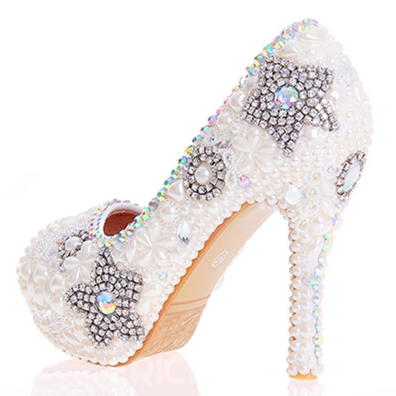 Ericdress Luxurious Beads Peep Toe Wedding Shoes