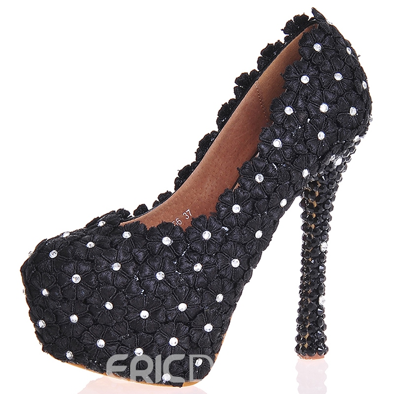 Ericdress Black Rhinestone Ultra-High Heel Wedding Shoes
