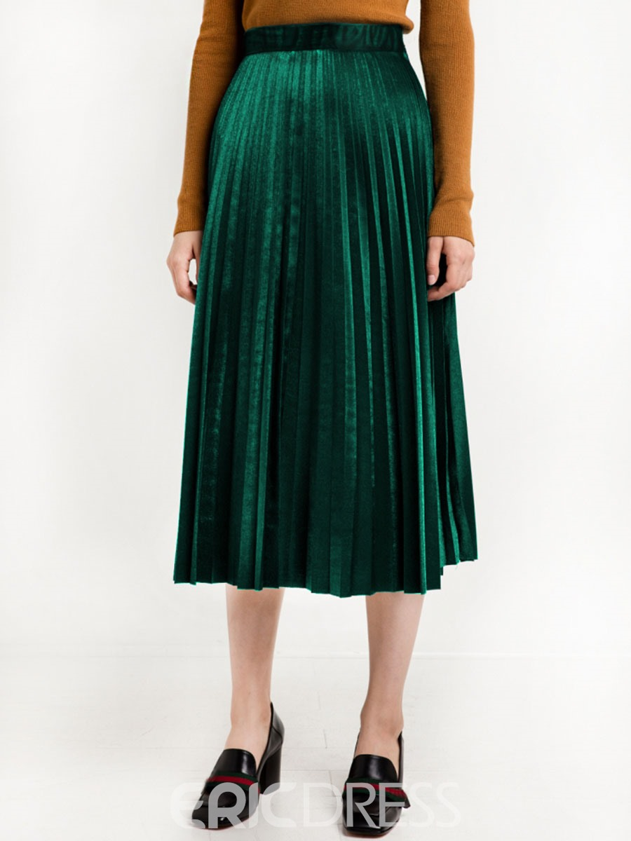 Ericdress Solid Color Pleated Corduroy High-Waist Usual Skirt