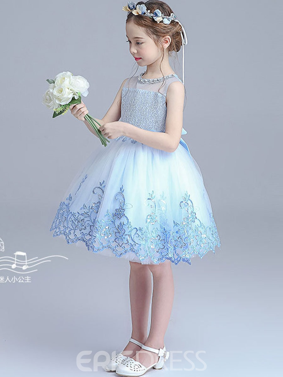 Ericdress Lace Floral Embroidery Sleeveless Princess Girls Dress